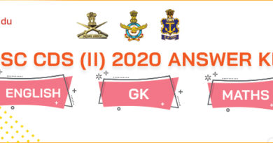 UPSC CDS 2020 Exam Answer Key